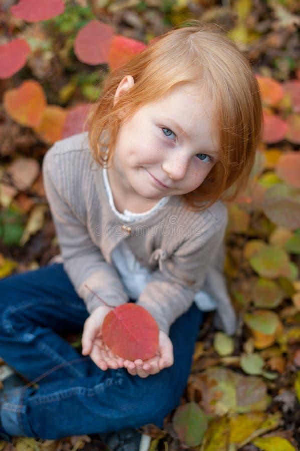 Κορίτσι που κρατά ένα φύλλο φθινοπώρου στοκ εικόνες