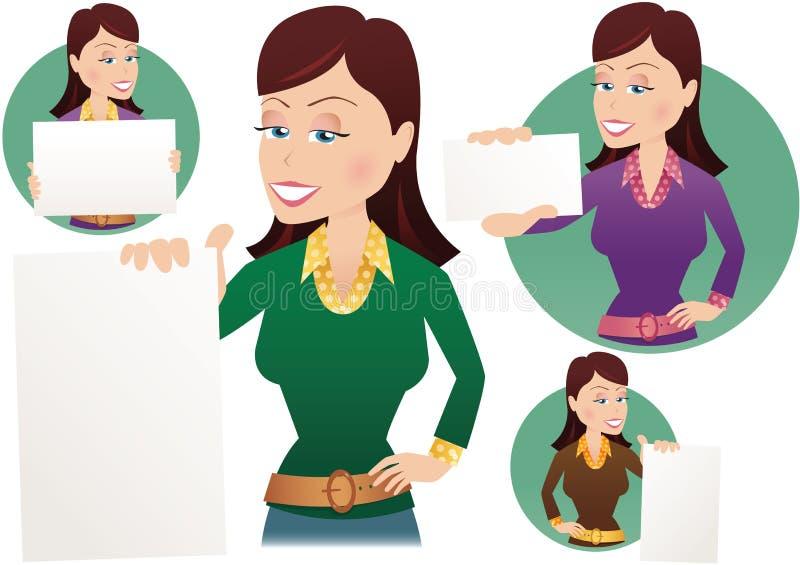 Κορίτσι που κρατά τις ανάμεικτες ειδοποιήσεις διανυσματική απεικόνιση