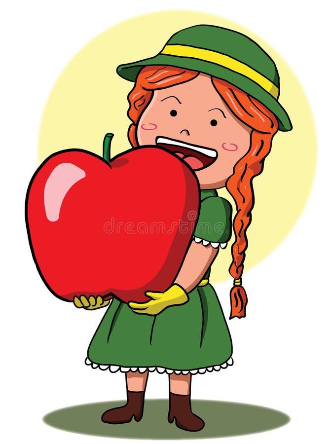 Κορίτσι που κρατά το γιγαντιαίο μήλο ελεύθερη απεικόνιση δικαιώματος