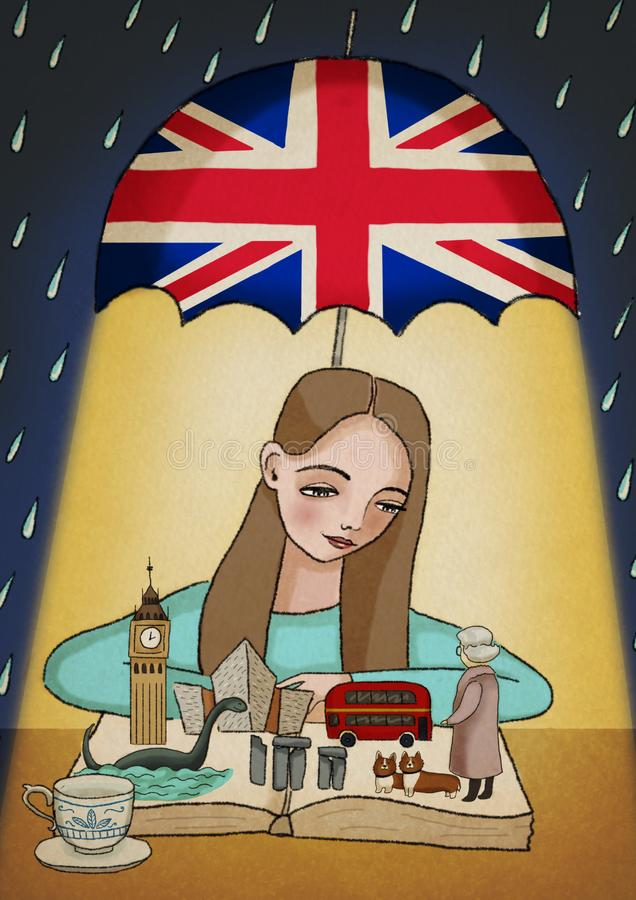 Κορίτσι που μαθαίνει τα βρετανικά αγγλικά, που εξετάζουν το βιβλίο με τα σύμβολα, τα παραδοσιακά και γνωστά πράγματα Βασίλειο μεγ ελεύθερη απεικόνιση δικαιώματος