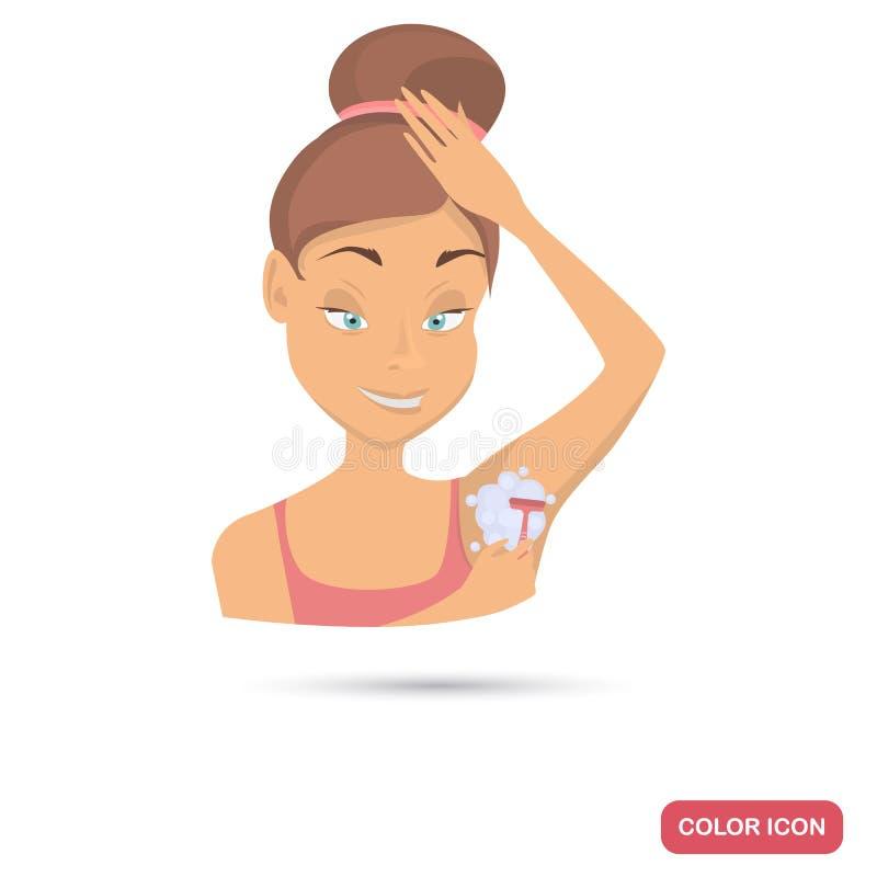 Κορίτσι που ξυρίζει το επίπεδο εικονίδιο χρώματος μασχαλών της για τον Ιστό και το κινητό σχέδιο διανυσματική απεικόνιση