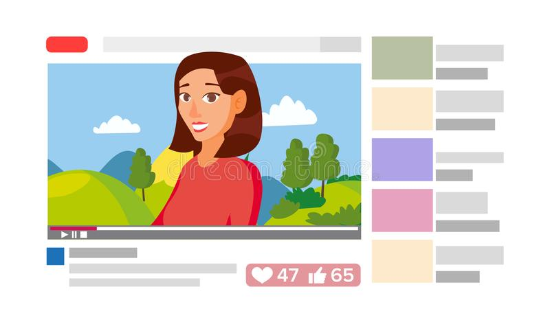 Κορίτσι που οδηγεί το σε απευθείας σύνδεση κανάλι ρευμάτων Σε απευθείας σύνδεση Διαδίκτυο που ρέει την τηλεοπτική έννοια Επίπεδη  ελεύθερη απεικόνιση δικαιώματος