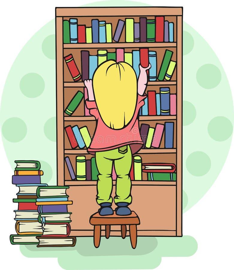 Κορίτσι που παίρνει ένα βιβλίο από ένα ράφι στη σχολική εκπαίδευση βιβλιοθηκών - διανυσματική απεικόνιση διανυσματική απεικόνιση
