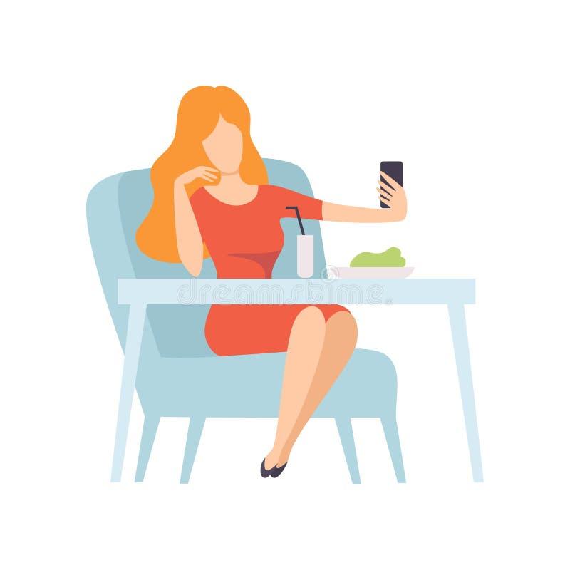 Κορίτσι που παίρνει τη φωτογραφία Selfie σε Smartphone καθμένος στον καφέ ή το εστιατόριο, νέα γυναίκα που κάνει τη φωτογραφία ή  διανυσματική απεικόνιση