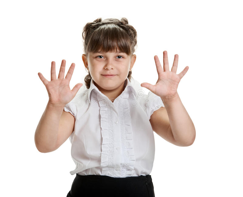 Κορίτσι που παρουσιάζει φοίνικες στοκ φωτογραφία