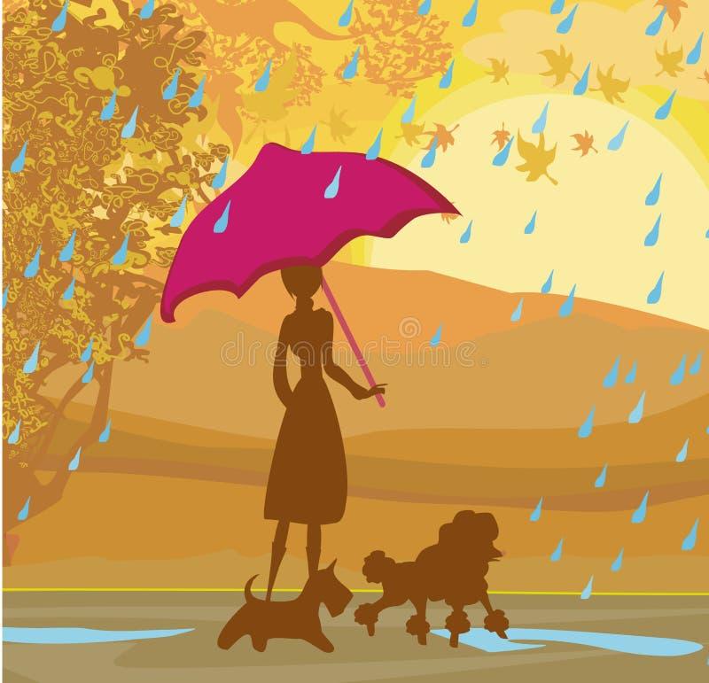 Κορίτσι που περπατά με τα σκυλιά της το φθινόπωρο διανυσματική απεικόνιση