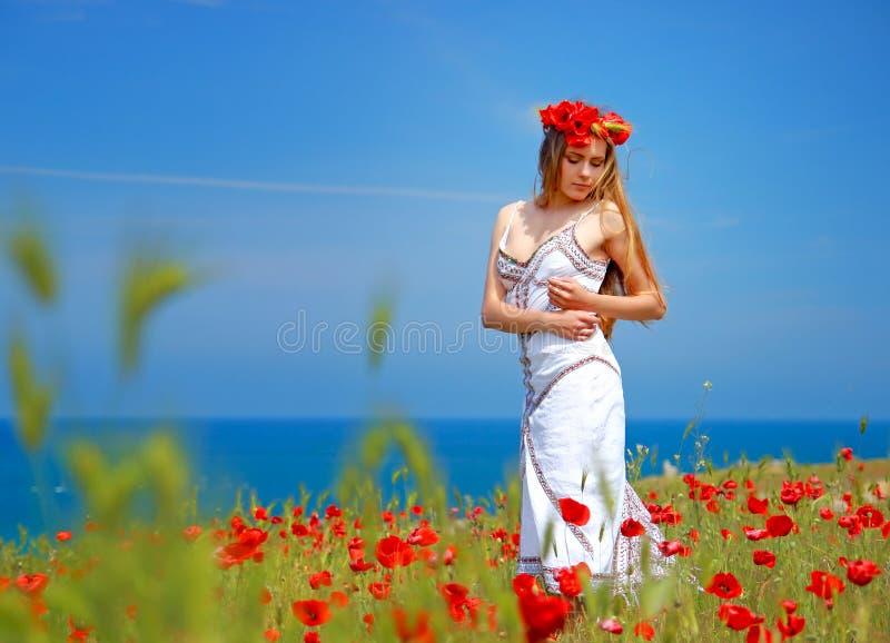 Κορίτσι που περπατά στον τομέα παπαρουνών στοκ φωτογραφίες με δικαίωμα ελεύθερης χρήσης
