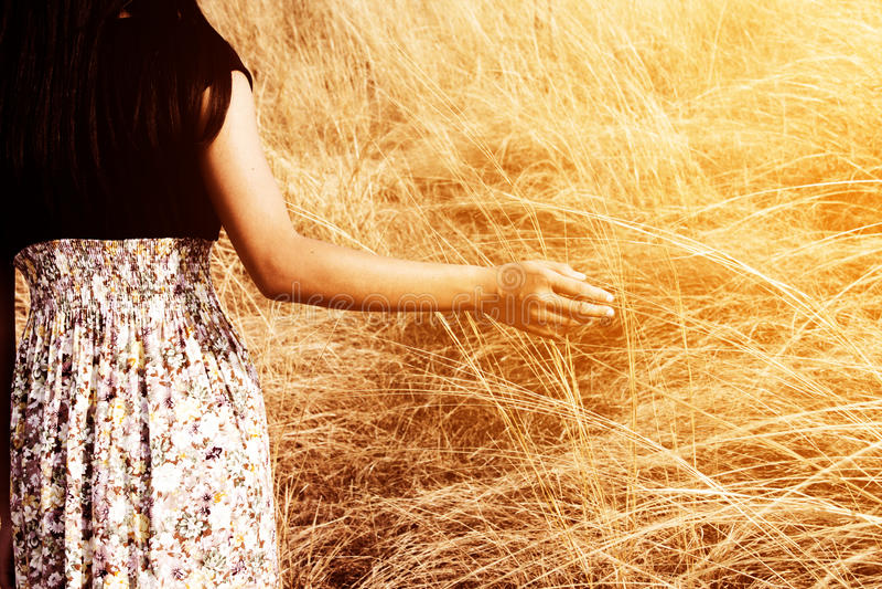 Κορίτσι που περπατά στον τομέα χλόης στοκ εικόνες