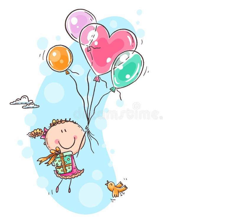 Κορίτσι που πετά με τα μπαλόνια και που φέρνει ένα παρόν, ευχετήρια κάρτα γενεθλίων απεικόνιση αποθεμάτων