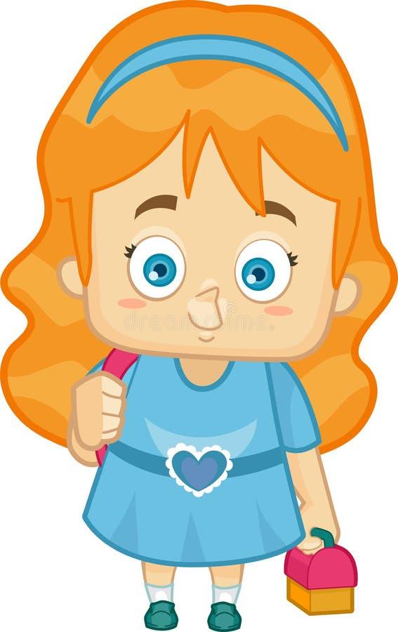 Κορίτσι που πηγαίνει στο σχολείο διανυσματική απεικόνιση