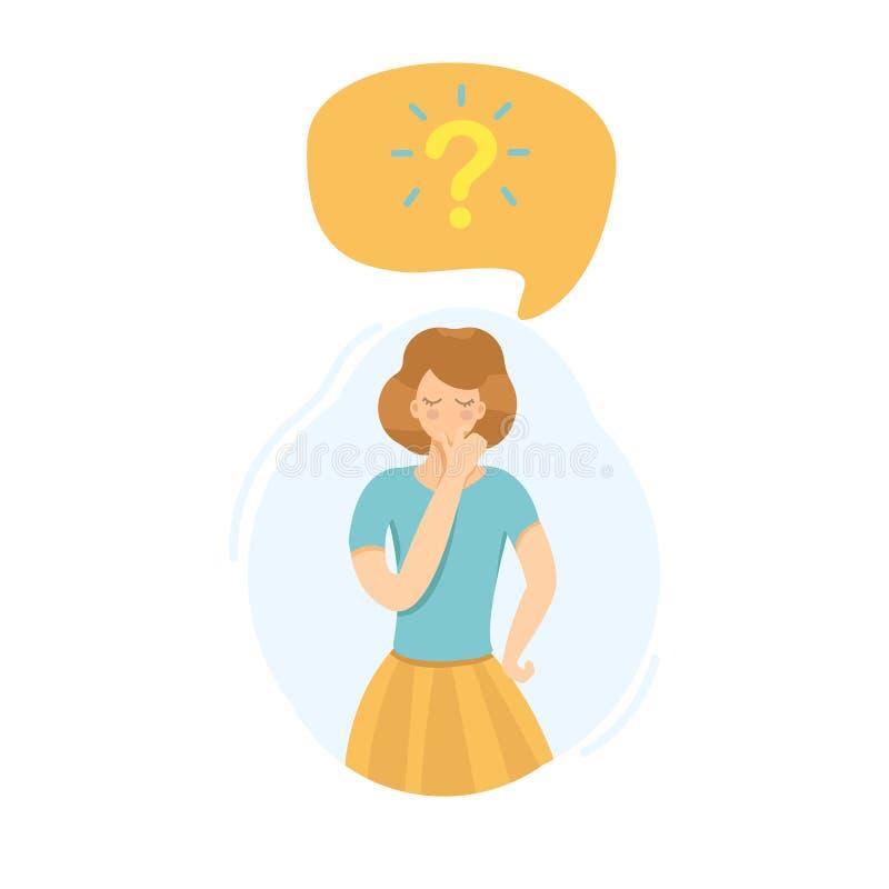 Κορίτσι που σκέφτεται για την ερώτηση απεικόνιση αποθεμάτων