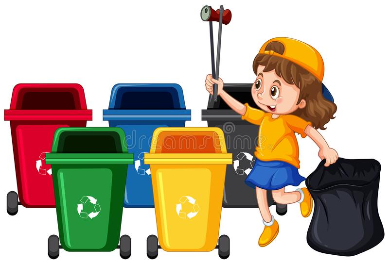 Κορίτσι που συλλέγει τα απορρίμματα και τον καθαρισμό ελεύθερη απεικόνιση δικαιώματος