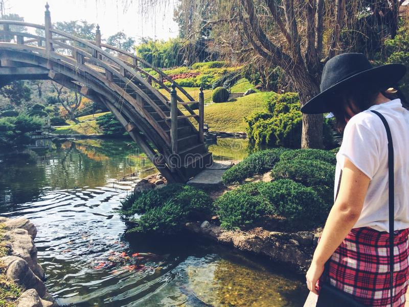 Κορίτσι που συλλογίζεται σε μια λίμνη με τη γέφυρα στοκ φωτογραφία