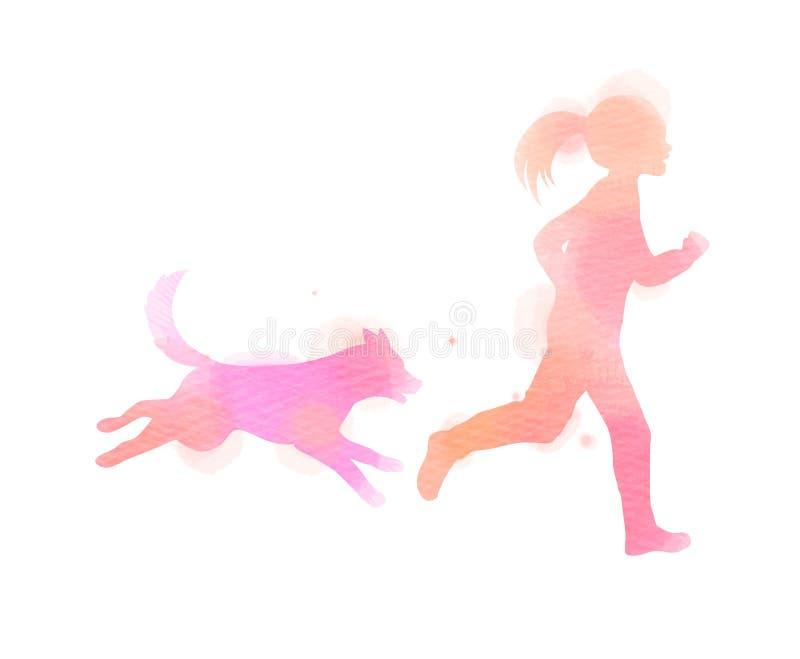 Κορίτσι που τρέχει με τη σκιαγραφία σκυλιών στο υπόβαθρο watercolor Η έννοια της εμπιστοσύνης, της φιλίας και της προσοχής κατοικ διανυσματική απεικόνιση