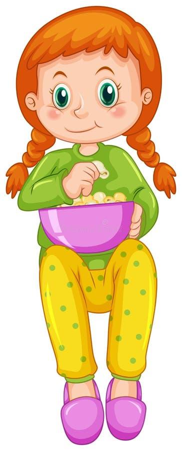 Κορίτσι που τρώει popcorn μόνο διανυσματική απεικόνιση