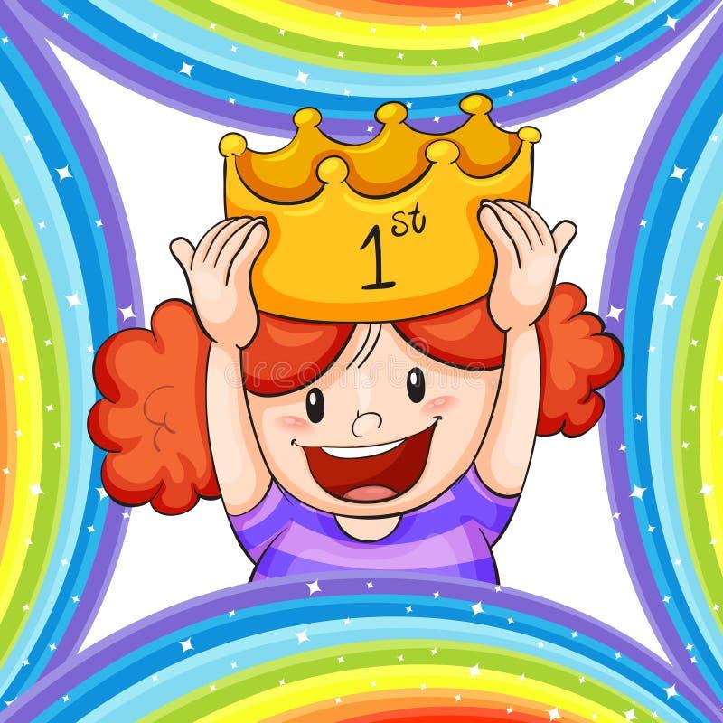 Κορίτσι που φορά τη χρυσή κορώνα ελεύθερη απεικόνιση δικαιώματος