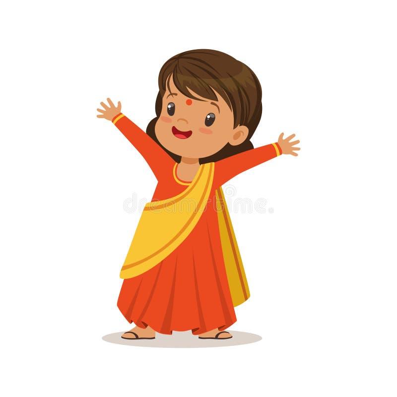 Κορίτσι που φορά το εθνικό κοστούμι φορεμάτων της Sari διανυσματικής απεικόνισης χαρακτήρα της Ινδίας της ζωηρόχρωμης απεικόνιση αποθεμάτων