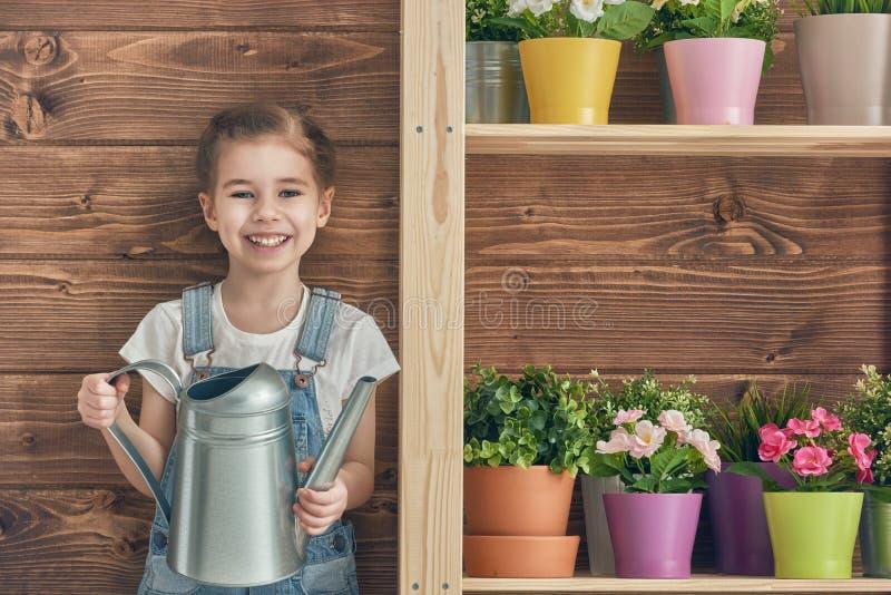 Κορίτσι που φροντίζει για τις εγκαταστάσεις της στοκ εικόνες