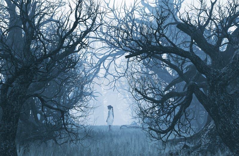 Κορίτσι που χάνεται στο ανατριχιαστικό δάσος διανυσματική απεικόνιση