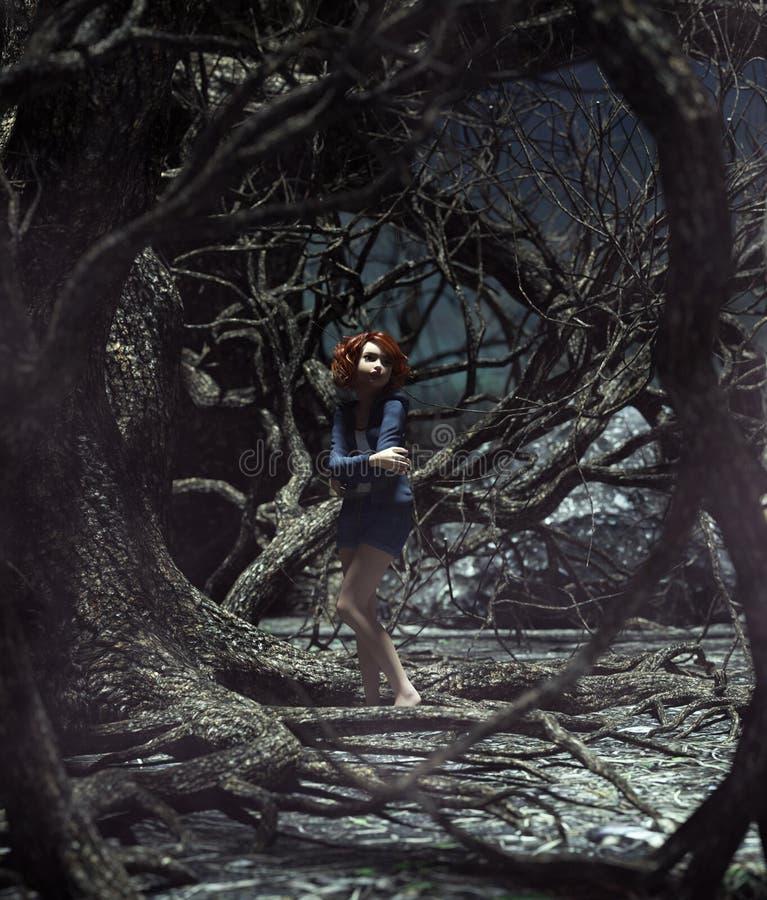Κορίτσι που χάνεται στο συχνασμένο δάσος απεικόνιση αποθεμάτων