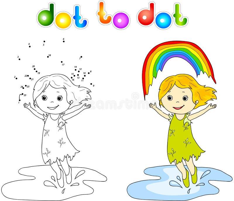 Κορίτσι που χορεύει με το σημείο ουράνιων τόξων στο σημείο απεικόνιση αποθεμάτων