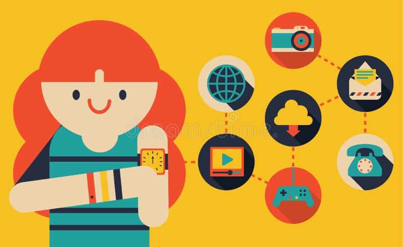 Κορίτσι που χρησιμοποιεί Smartwatch απεικόνιση αποθεμάτων