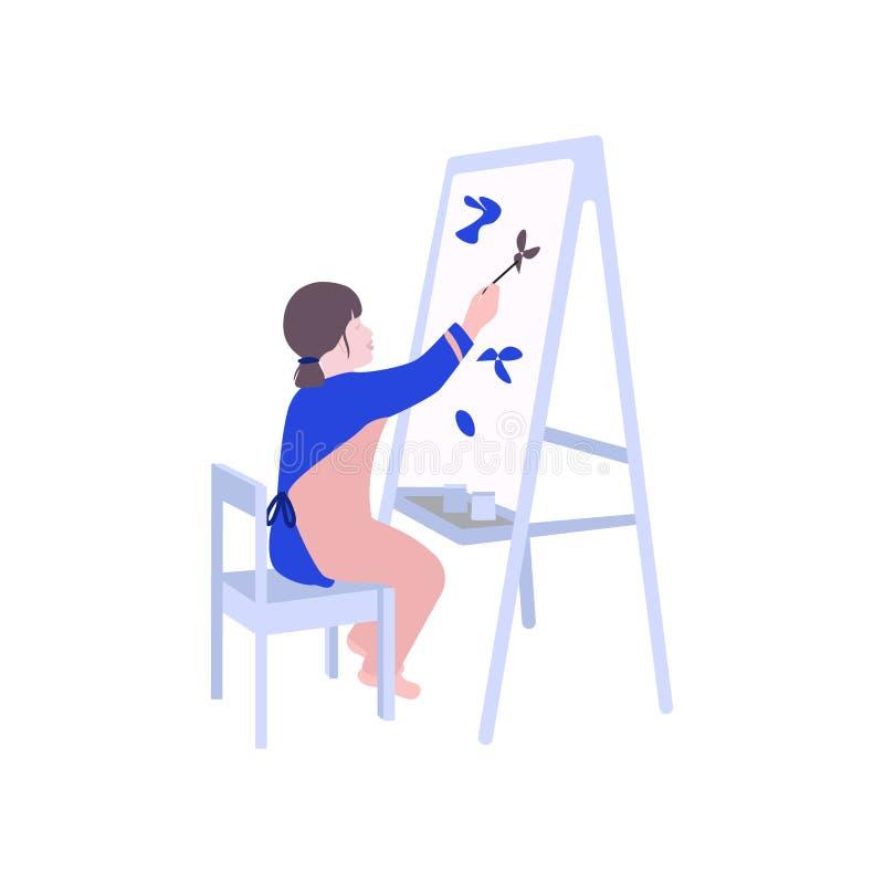 Κορίτσι που χρωματίζει την επίπεδη απεικόνιση Παιχνίδι σχεδίων παιδιών στον παιδικό σταθμό Τυπωμένη ύλη διαφήμισης ελεύθερου χρόν διανυσματική απεικόνιση