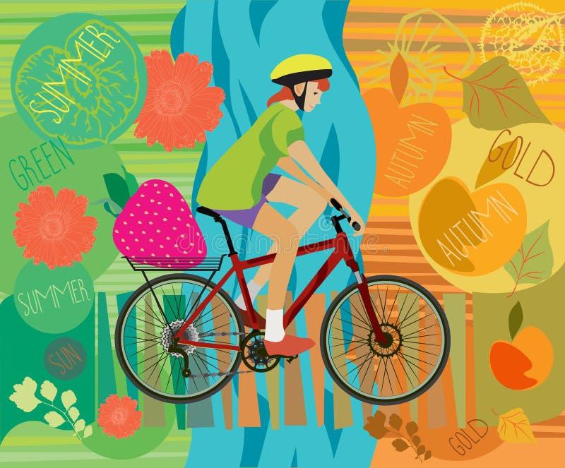 κορίτσι ποδηλάτων Καλοκαίρι Φθινόπωρο επίσης corel σύρετε το διάνυσμα απεικόνισης απεικόνιση αποθεμάτων