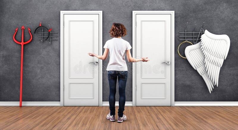 Κορίτσι πριν από πόρτες διανυσματική απεικόνιση