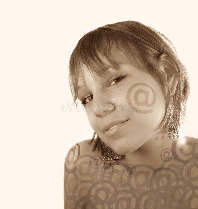 κορίτσι προσώπου ηλεκτρ& στοκ φωτογραφίες με δικαίωμα ελεύθερης χρήσης