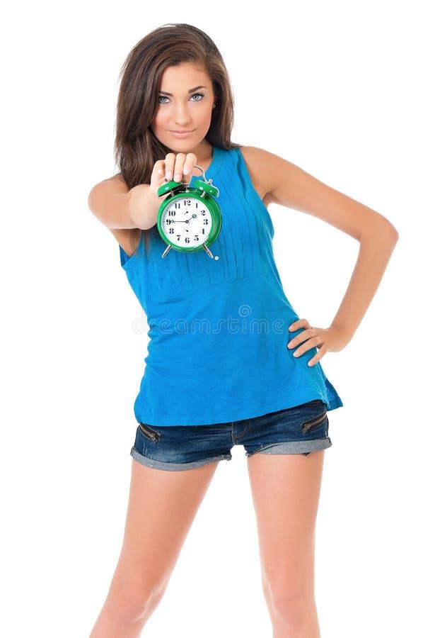 κορίτσι ρολογιών στοκ εικόνες με δικαίωμα ελεύθερης χρήσης