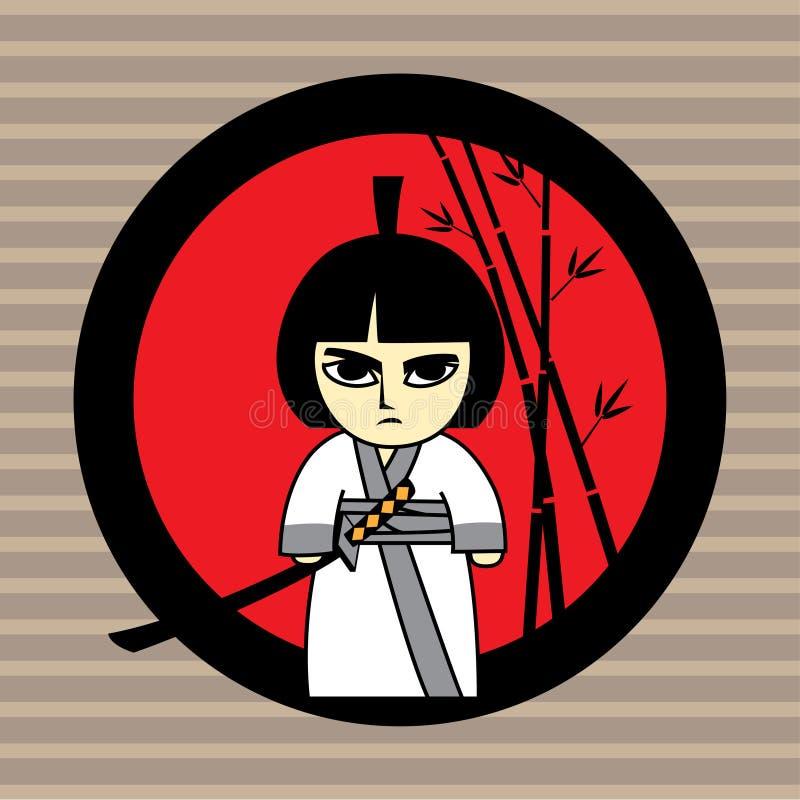 Κορίτσι Σαμουράι απεικόνιση αποθεμάτων