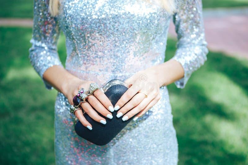 Κορίτσι σε ένα ασημένιο φόρεμα με αρθρώσεις ενός τις μικρές μαύρες τσαντών ορείχαλκου Εξαρτήματα ενδυμάτων μόδας καθορισμένα Αρθρ στοκ φωτογραφία με δικαίωμα ελεύθερης χρήσης