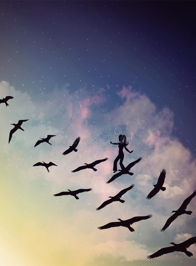 Κορίτσι σε ένα κοπάδι των πετώντας πουλιών, των μαγικών σύννεφων και του ουρανού, όνειρο, επιθυμία ελεύθερη απεικόνιση δικαιώματος