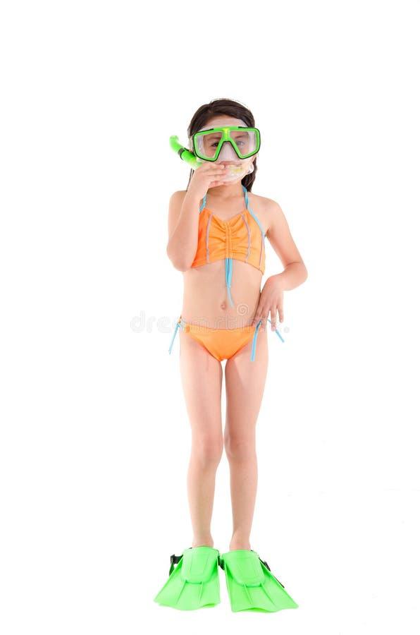 Κορίτσι σε ένα μαγιό, beachwear, πυροβολισμός στούντιο, σκάφανδρο στοκ φωτογραφία