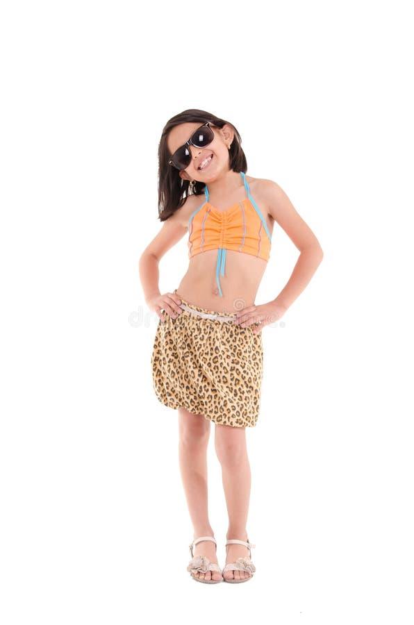 Κορίτσι σε ένα μαγιό, beachwear, πυροβολισμός στούντιο στοκ φωτογραφίες