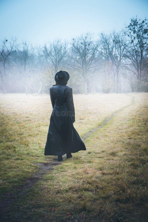 Κορίτσι σε ένα μακρύ παλτό στην ομίχλη στοκ φωτογραφία με δικαίωμα ελεύθερης χρήσης