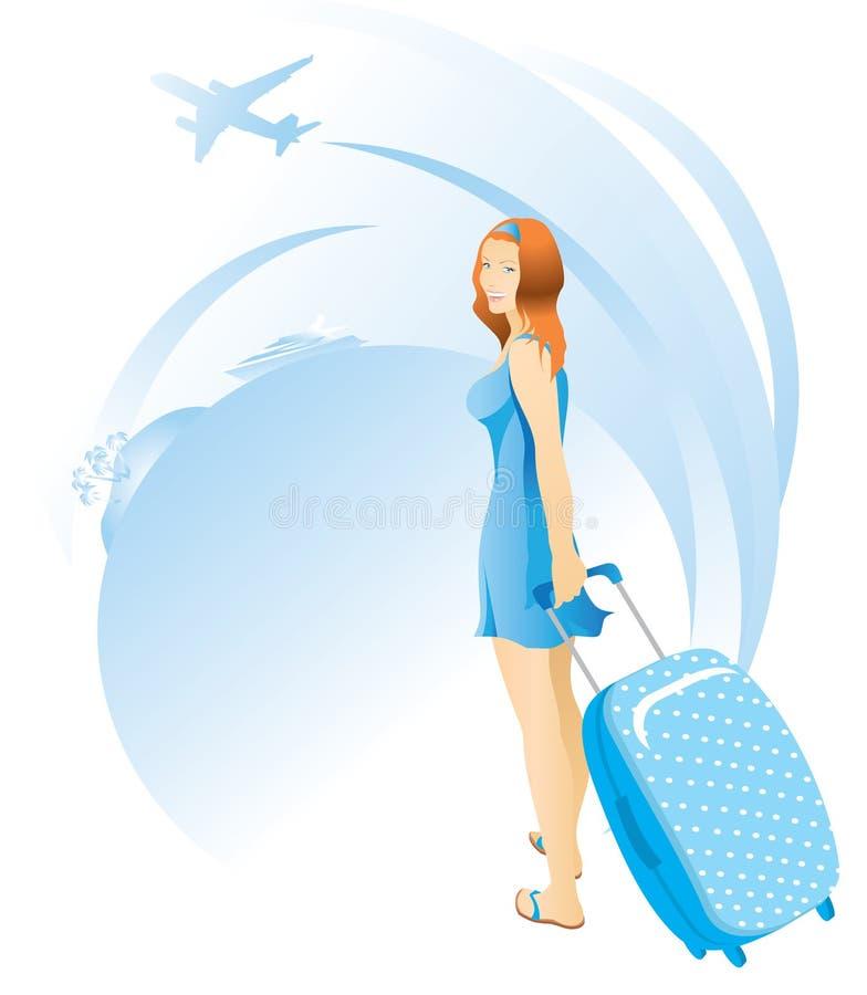 Κορίτσι σε ένα μπλε φόρεμα με μια βαλίτσα διάνυσμα απεικόνιση αποθεμάτων