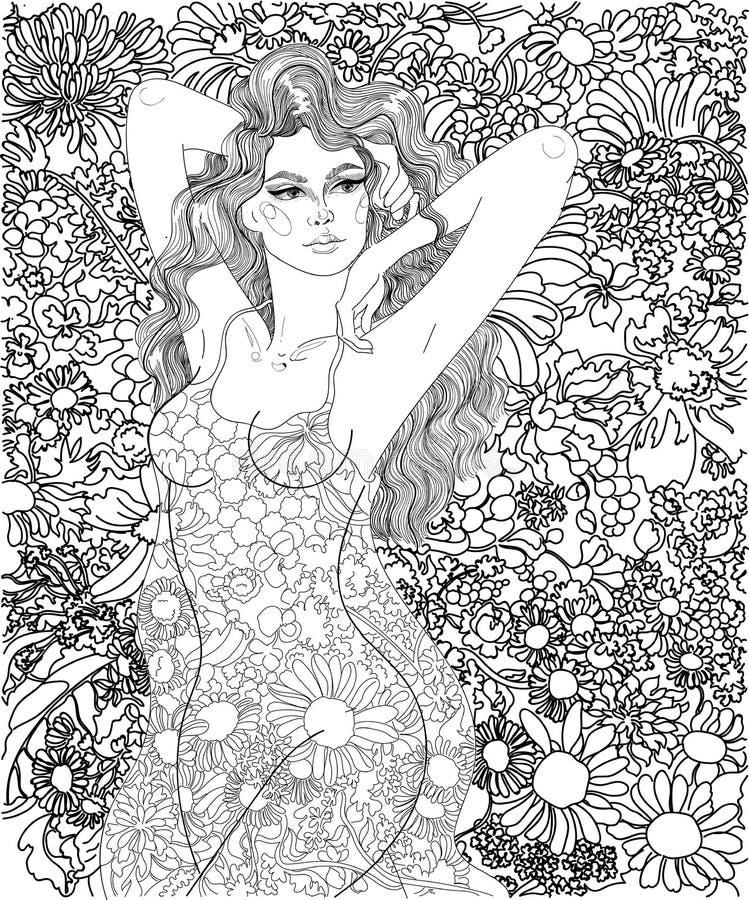 Κορίτσι σε ένα υπόβαθρο των λουλουδιών απεικόνιση αποθεμάτων
