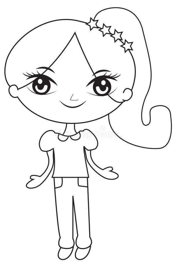 Κορίτσι σε ένα ponytail με τα αστέρια που χρωματίζουν τη σελίδα ελεύθερη απεικόνιση δικαιώματος