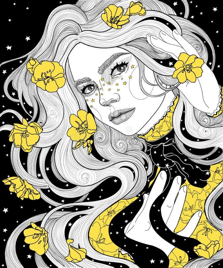 κορίτσι σε μια έναστρη νύχτα αδιάβροχων ακρωτηρίων η τρίχα και το φόρεμά της με το κίτρινο χρυσό λουλούδι διανυσματική απεικόνιση