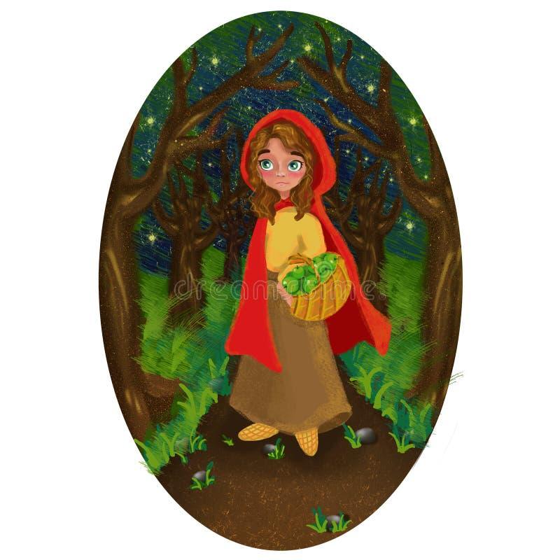 Κορίτσι σε μια κόκκινη ΚΑΠ στο δάσος νύχτας διανυσματική απεικόνιση