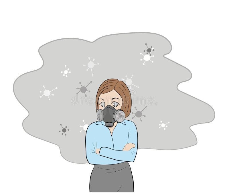 Κορίτσι σε μια μάσκα αερίου αλλεργία στη σκόνη και τη γύρη επίσης corel σύρετε το διάνυσμα απεικόνισης διανυσματική απεικόνιση