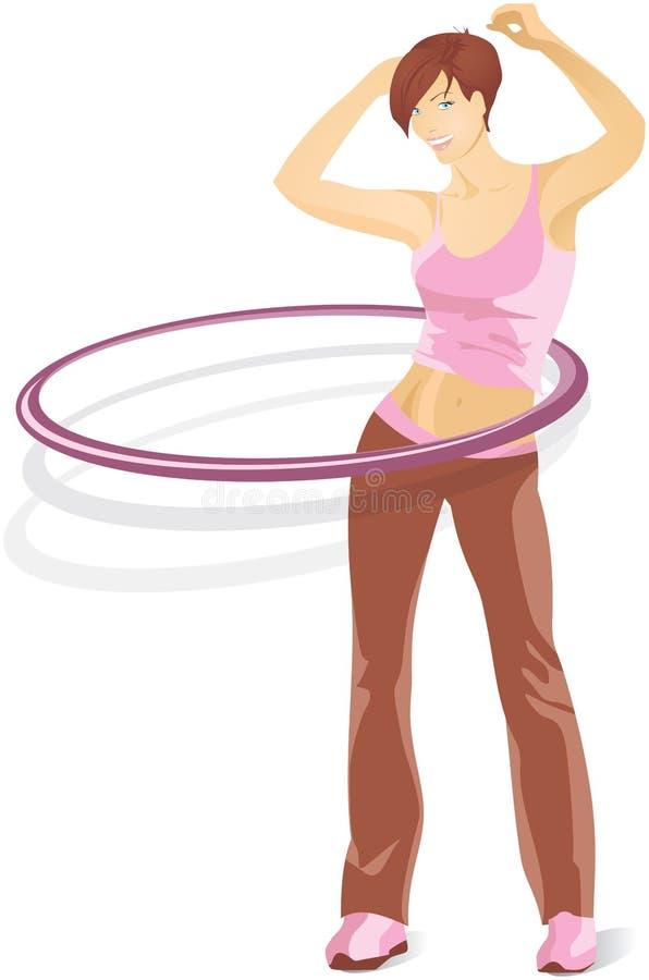 Κορίτσι σε μια φόρμα γυμναστικής με μια στεφάνη hula ελεύθερη απεικόνιση δικαιώματος