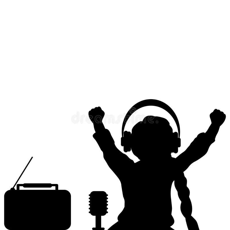Κορίτσι σκιαγραφιών που ακούει τη μουσική με τα ακουστικά Παγκόσμιο ραδιόφωνο ελεύθερη απεικόνιση δικαιώματος