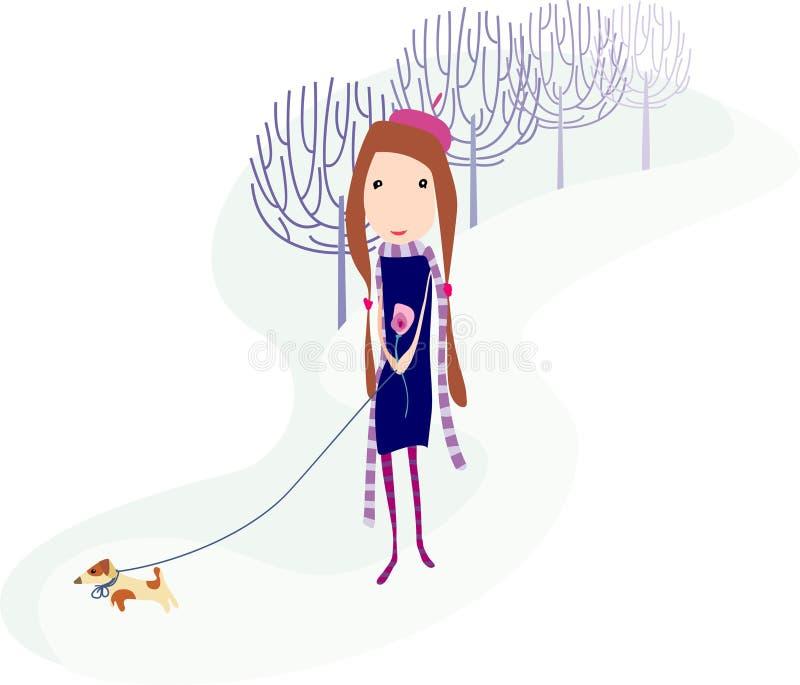 κορίτσι σκυλιών ελεύθερη απεικόνιση δικαιώματος