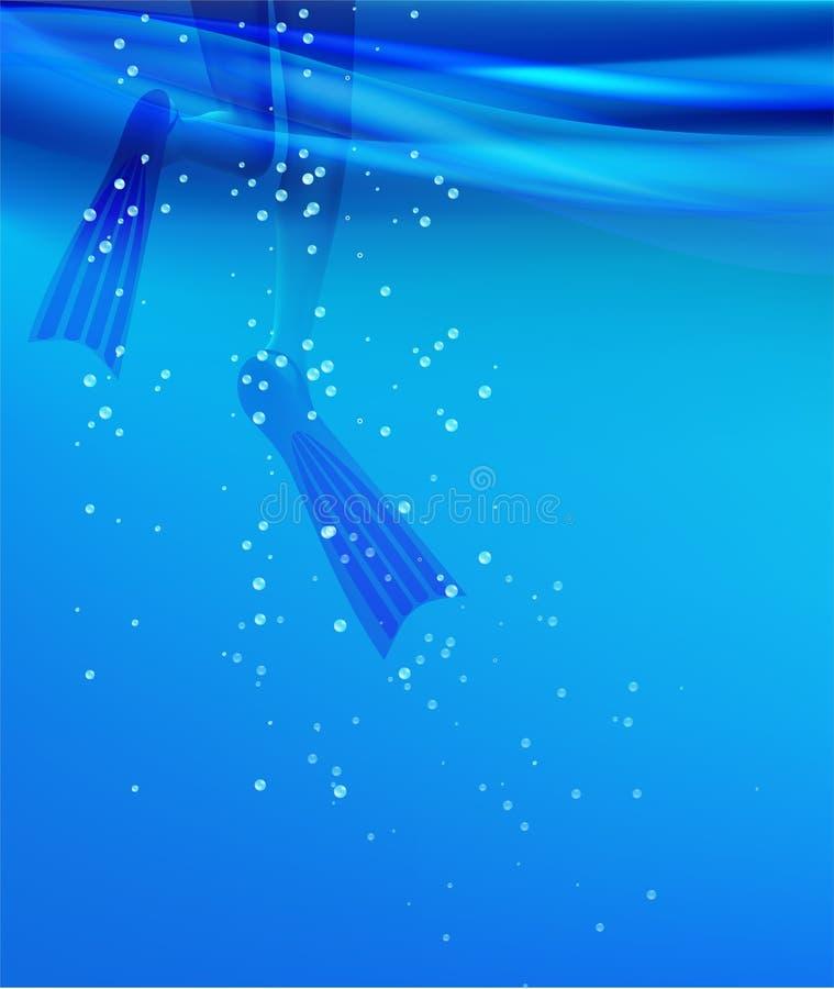 Κορίτσι στα βατραχοπέδιλα σε ένα θαλάσσιο νερό διανυσματική απεικόνιση