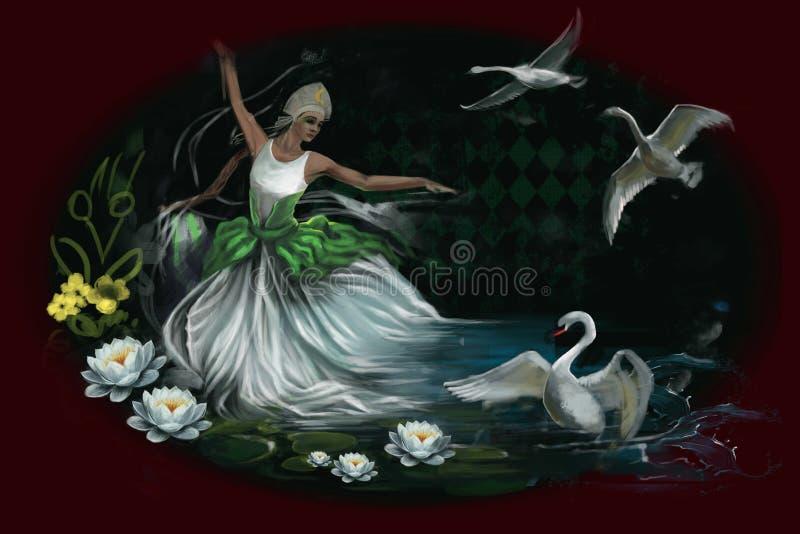 Κορίτσι στην άσπρη συνεδρίαση φορεμάτων κοντά στη λίμνη με τους κύκνους ελεύθερη απεικόνιση δικαιώματος