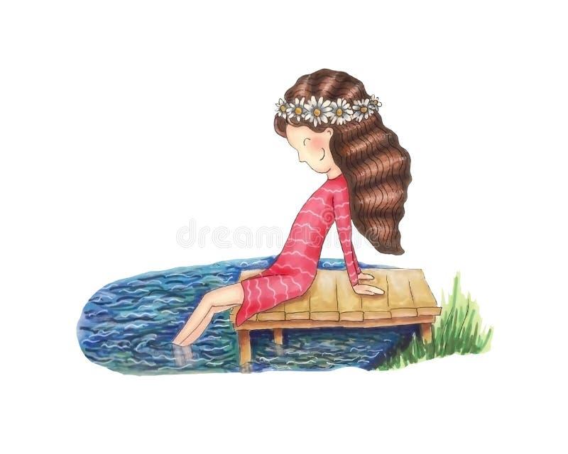 Κορίτσι στην αποβάθρα ελεύθερη απεικόνιση δικαιώματος