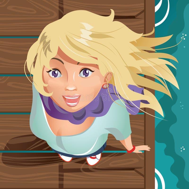 Κορίτσι στην ξύλινη αποβάθρα διανυσματική απεικόνιση